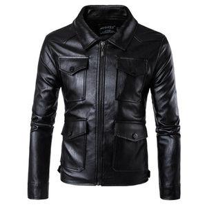 Mens Punk Slim Motorcycle Leather Pocket Jacket XL